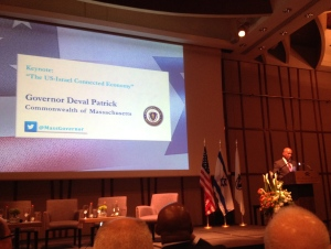 Governor Patrick speaking in Israel.