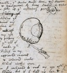 Drawing from Newton's notebook, demonstrating the use of a bodkin to apply pressure to the back of his eye.